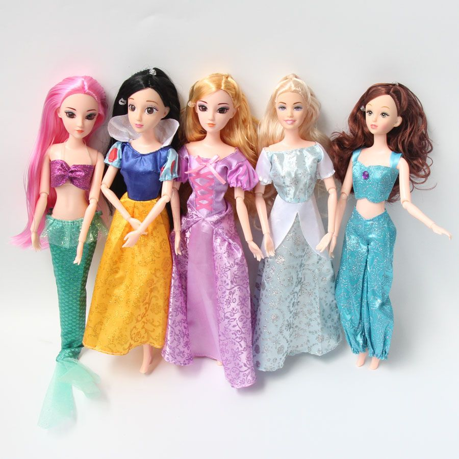 1PCS 29cm Princess Toys 3D Big Eyes Mermaid Snow White