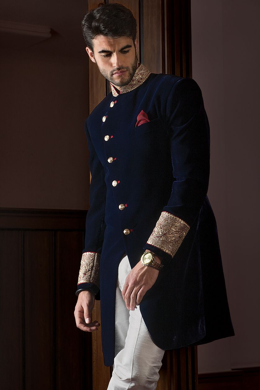 b7a1289960864d Designer Navy Blue Sherwani for Men | bookshelves | Wedding sherwani ...