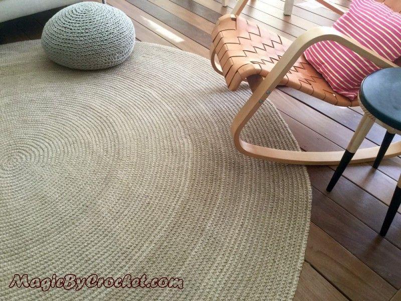 Premium Braided Jute Area Rug, 8ft (240cm), Crochet Rug, Large Natural