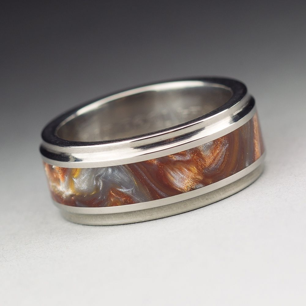 Custom Made Anium Wood Tone Burl Mens Wedding Band Iced Bronze Las Vegas