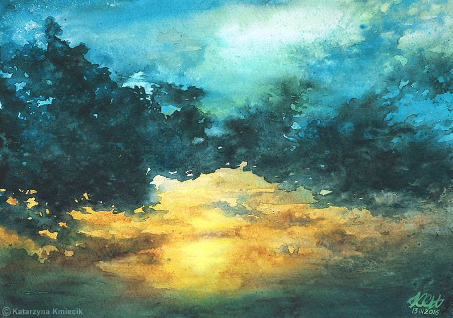 'Sky No 3', turquoise blue clouds watercolor painting by Katarzyna Kmiecik (Poland), 2016.