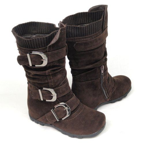 2c6235a43e23 Kids Youth Girls  Faux Suede Knee High Buckle Flat Boots Brown