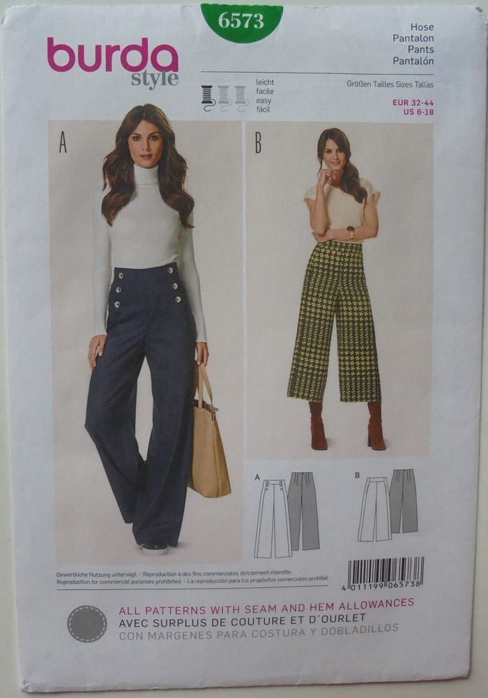 Burda Style 6573 Misses Pants Pantalon Sz 6-18 17+2.61 10bds 5/20/17