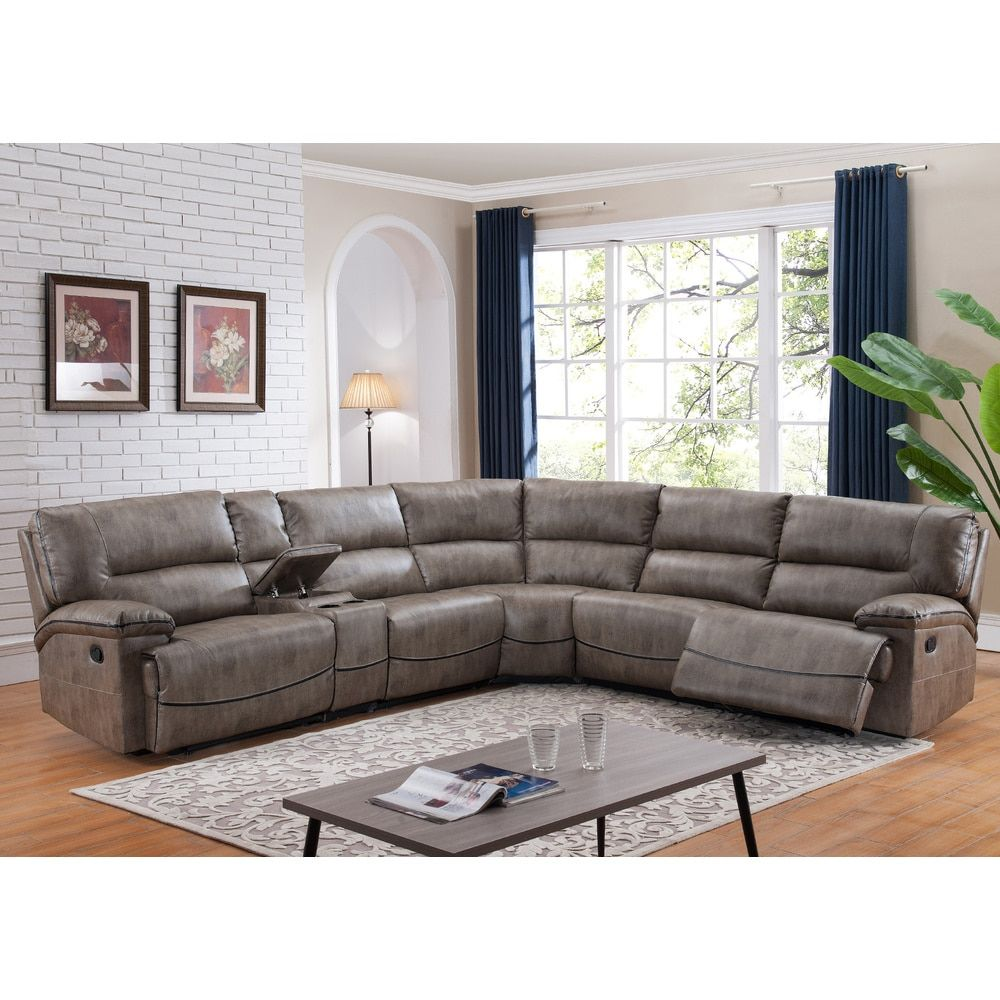 Donovan Sectional Sofa With 3 Reclining Seats Free Shipping Today Fabric Sectionalsectional Chaiseliving