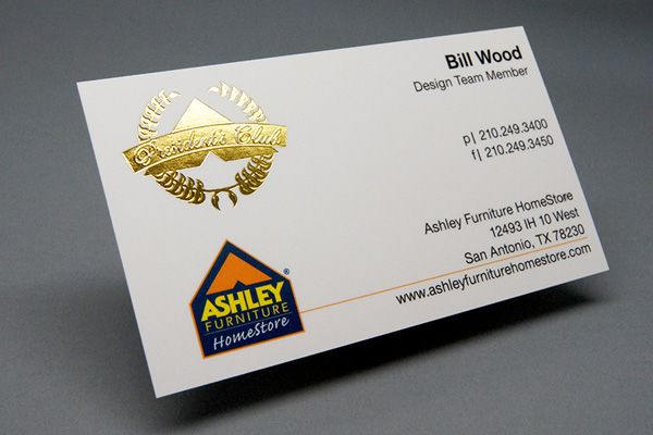 Captivating Silk Laminated Business Card With Gold Foil Printed For Ashley Furniture  Printed By Primo Print.