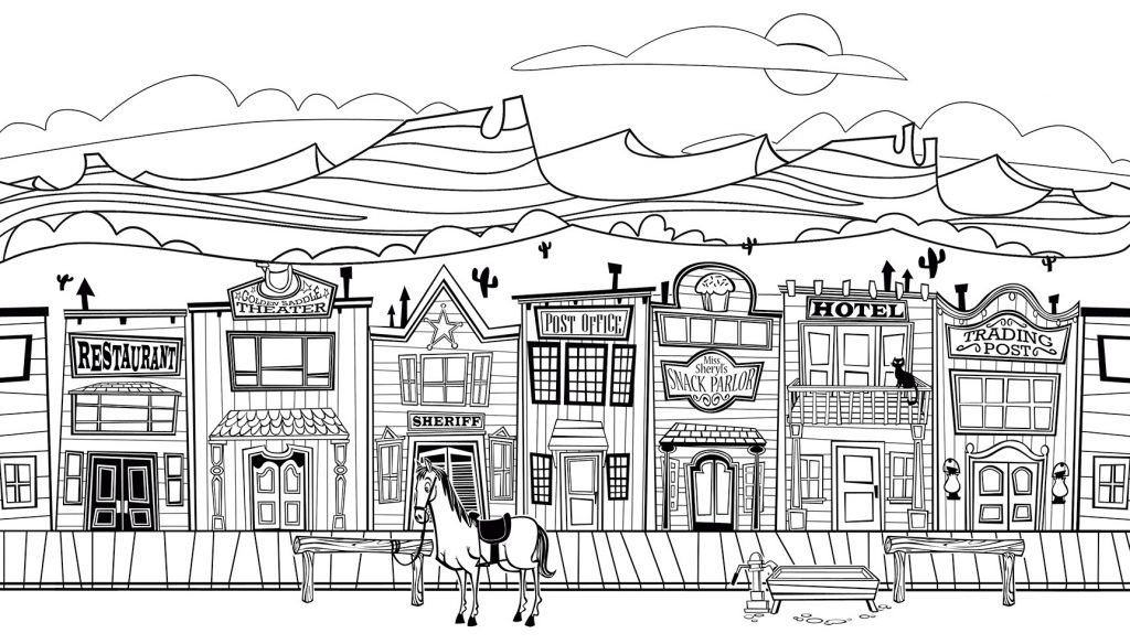 City Coloring Pages | Coloring pages, Town drawing, Old ...