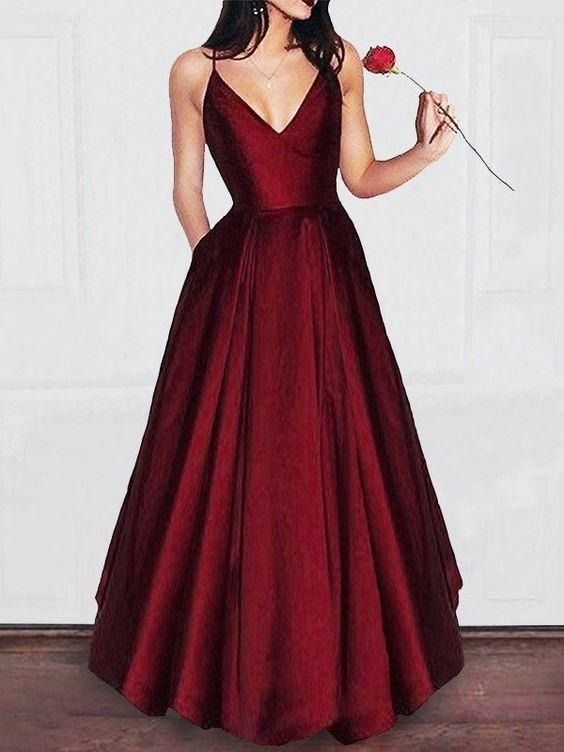 f10f607efa A-line V-neck Spaghetti Strap Burgundy Prom Dresses Long Formal Evening  Ball Gowns ARD1081 Size Guide  109.00  149.00 You Save 26% ( 40.00)