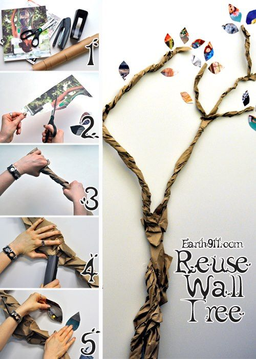 Paper Bag Wall Decor : Make some trees out of recycled brown shipping paper