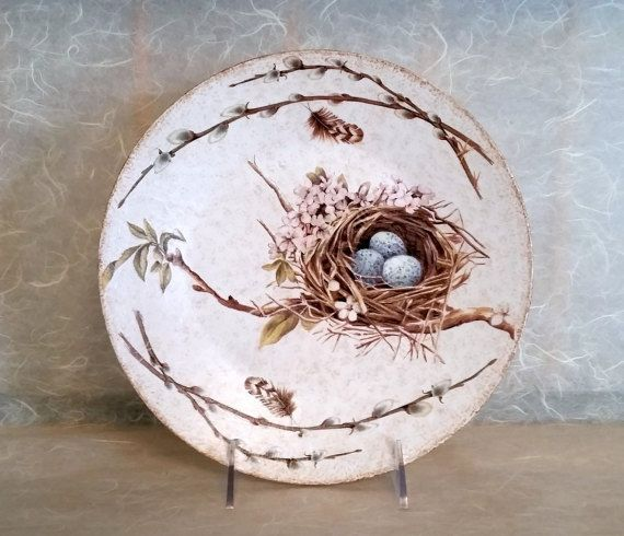 Decorative Wood Plate Featuring Bird Nest with by AltaMacStudio : decorative wooden plates - pezcame.com
