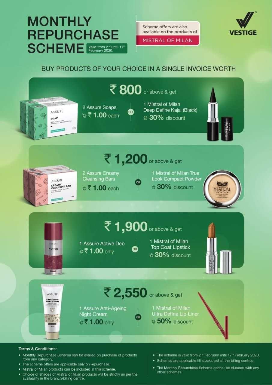 Vestige Repurchase offer Feb 2020 Monthly Offers in