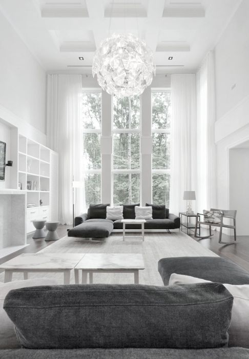 Monochromatic Grey Gray Living Room In LOVE With The Chandelier