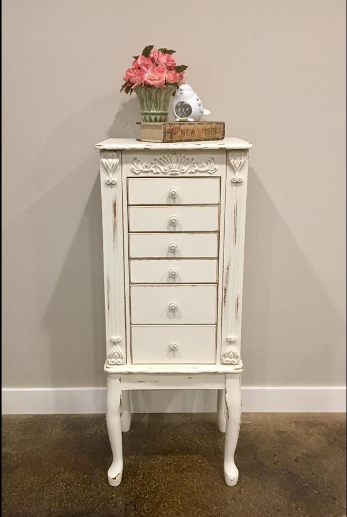 Beautiful Distressed Jewelry Armoire Done In Butter Cream Chalk Paint