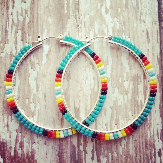 Beaded Turquoise Sunburst Hoop Earrings  by OraLouiseJewelry, $25.00