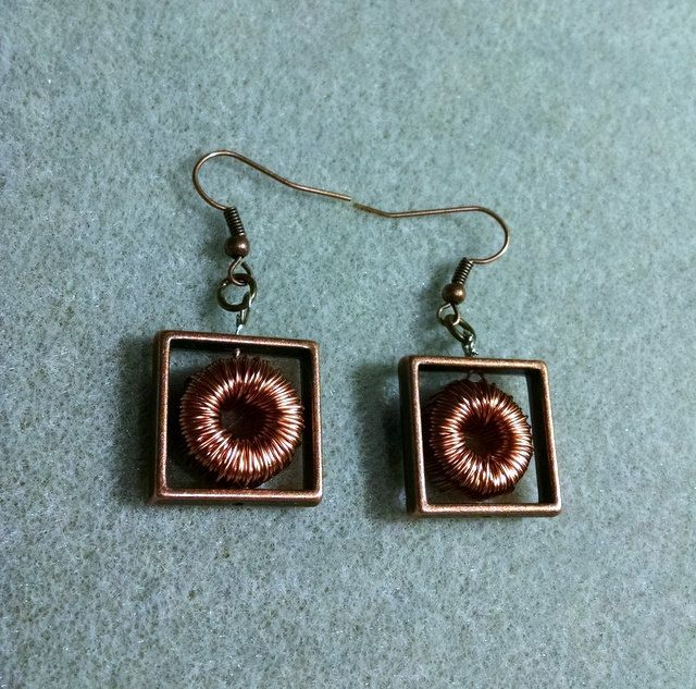Earrings Wire Wrap Toroid Inductor Choke Steampunk Jewelry Bronze ...