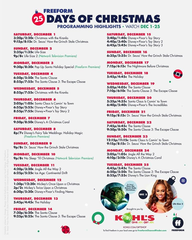 Freeform 25 days of christmas 2018 click on the link to
