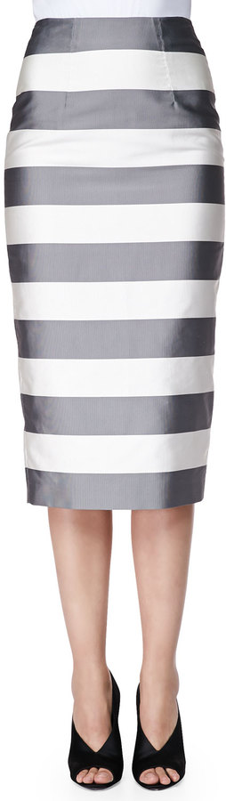 Burberry London Striped Midi-Length Pencil Skirt