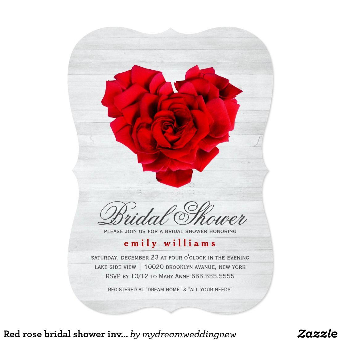 Red rose bridal shower invitation | Shower invitations, Bridal ...