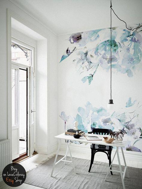 Blaue Jahrgang - Blumen abnehmbare Tapeten Aquarell Wandbild