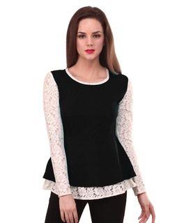 Lace Sleeve Black Peplum Top blackTT1040