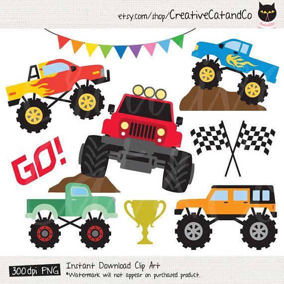 Monster Truck Clipart Big Truck Clip Art Car Racing Clipart Etsy In 2020 Monster Trucks Clip Art Free Vector Art