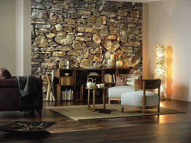 die komar fototapete stone wall unterstreicht in 3d optik eine moderne und trendsichere. Black Bedroom Furniture Sets. Home Design Ideas