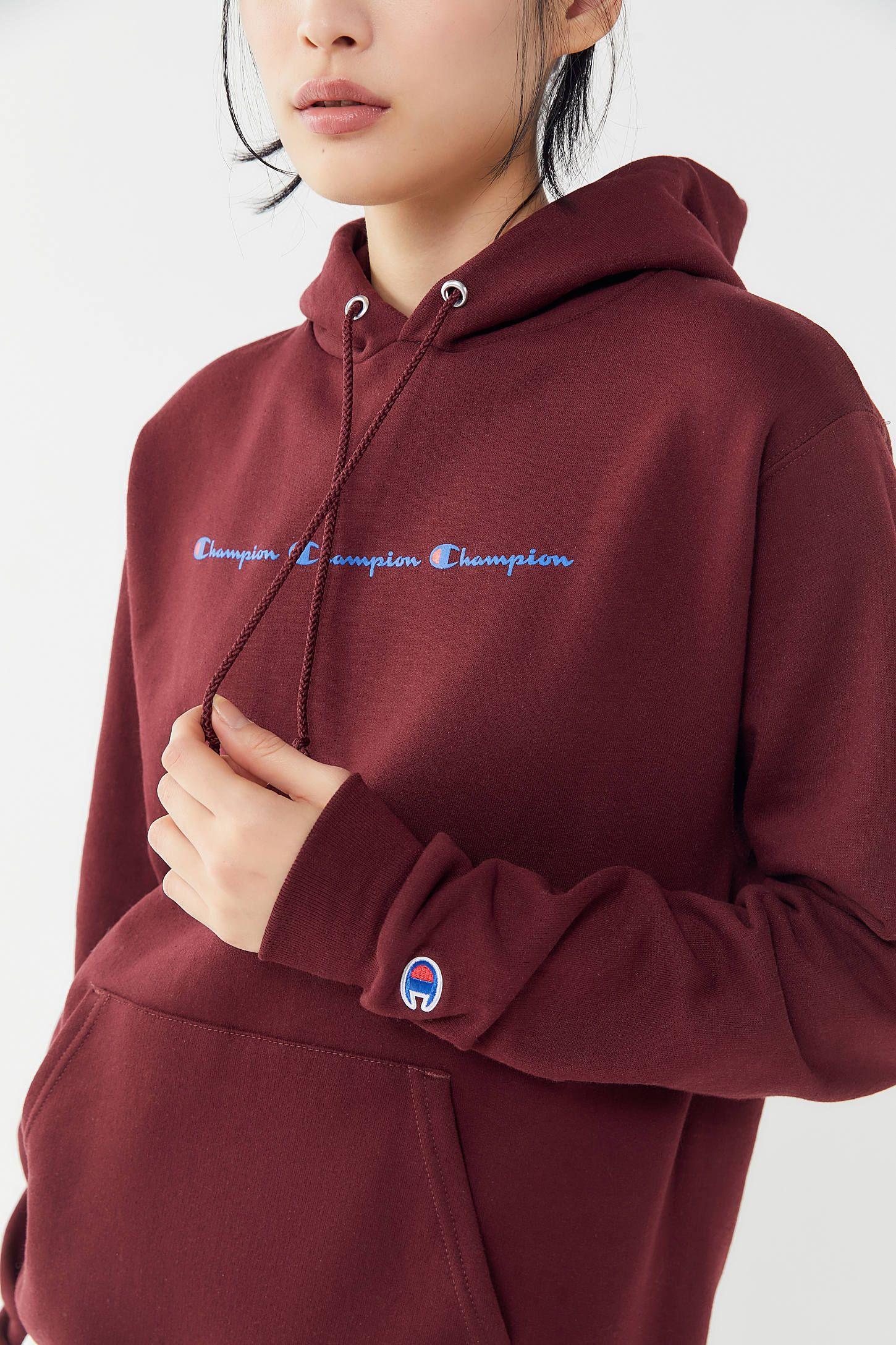 Champion Eco Triple Script Hoodie Sweatshirt Urban Outfitters Sweatshirts Hoodie Pullover Designs Hoodies [ 2175 x 1450 Pixel ]