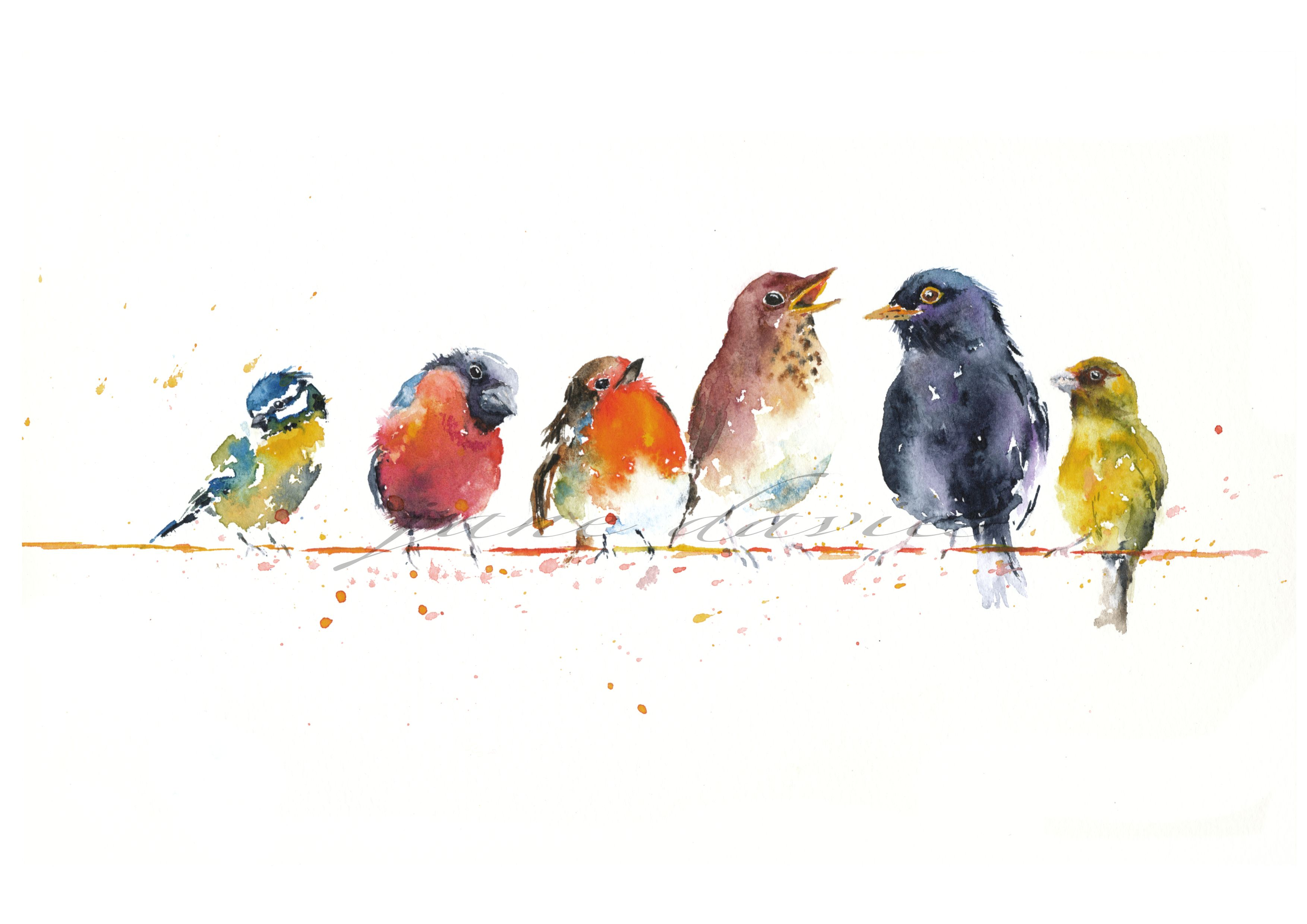 Small birds on a wire (Valentine tweets) painted by artist Jane Davies. Available as an LIMITED EDITION PRINT. #smallbirds