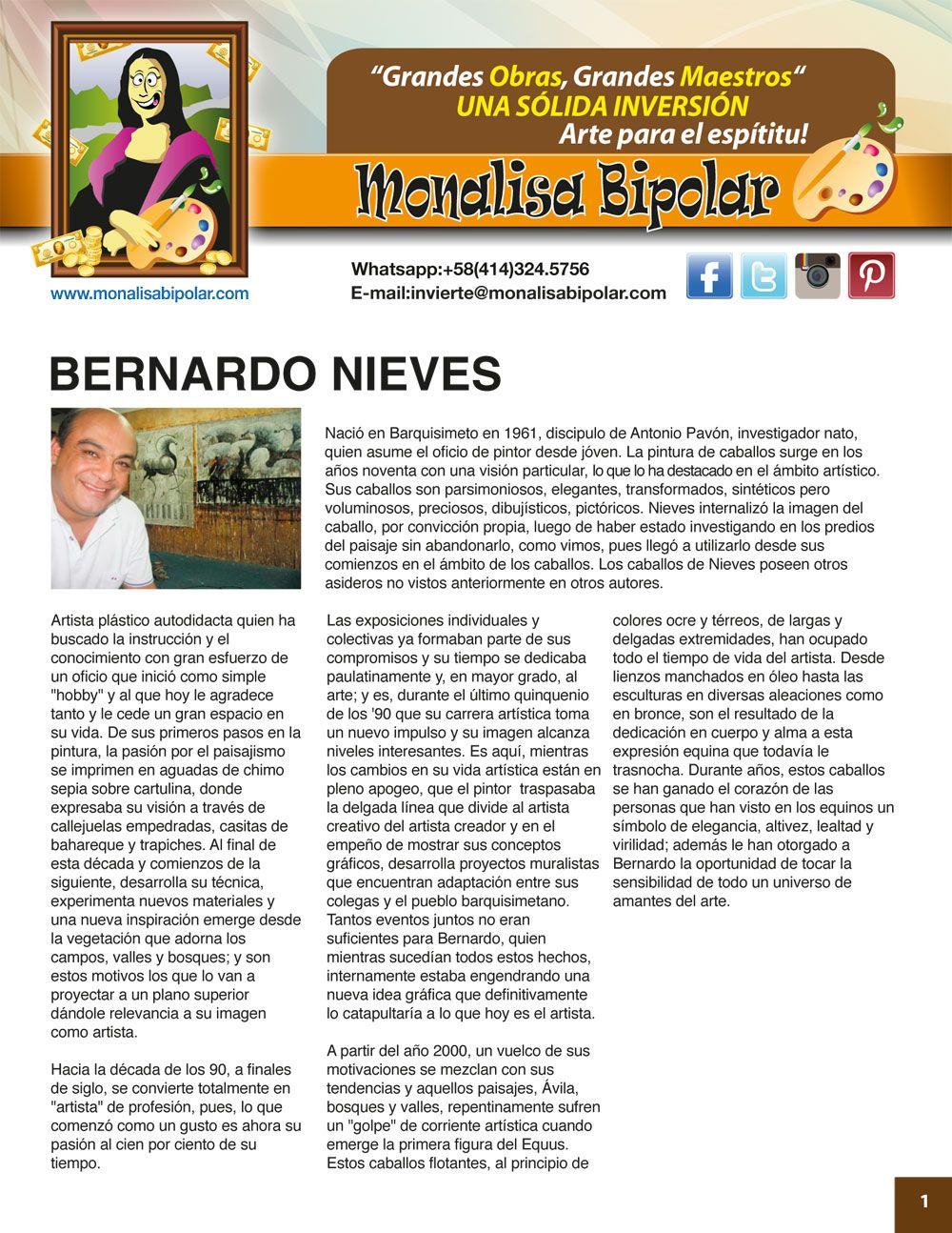 BERNARDO NIEVES - Curriculum   MAESTROS / ARTISTAS para Monalisa ...