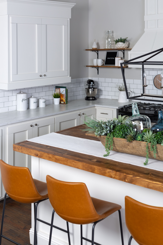 Faux leather barstool in 2020 white farmhouse kitchens