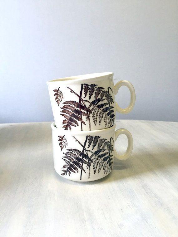 80s Ceramic Coffee Mugs Leaf Design Set Of 2 Mugs China Etsy Mini Tea Set Mugs Leaf Design