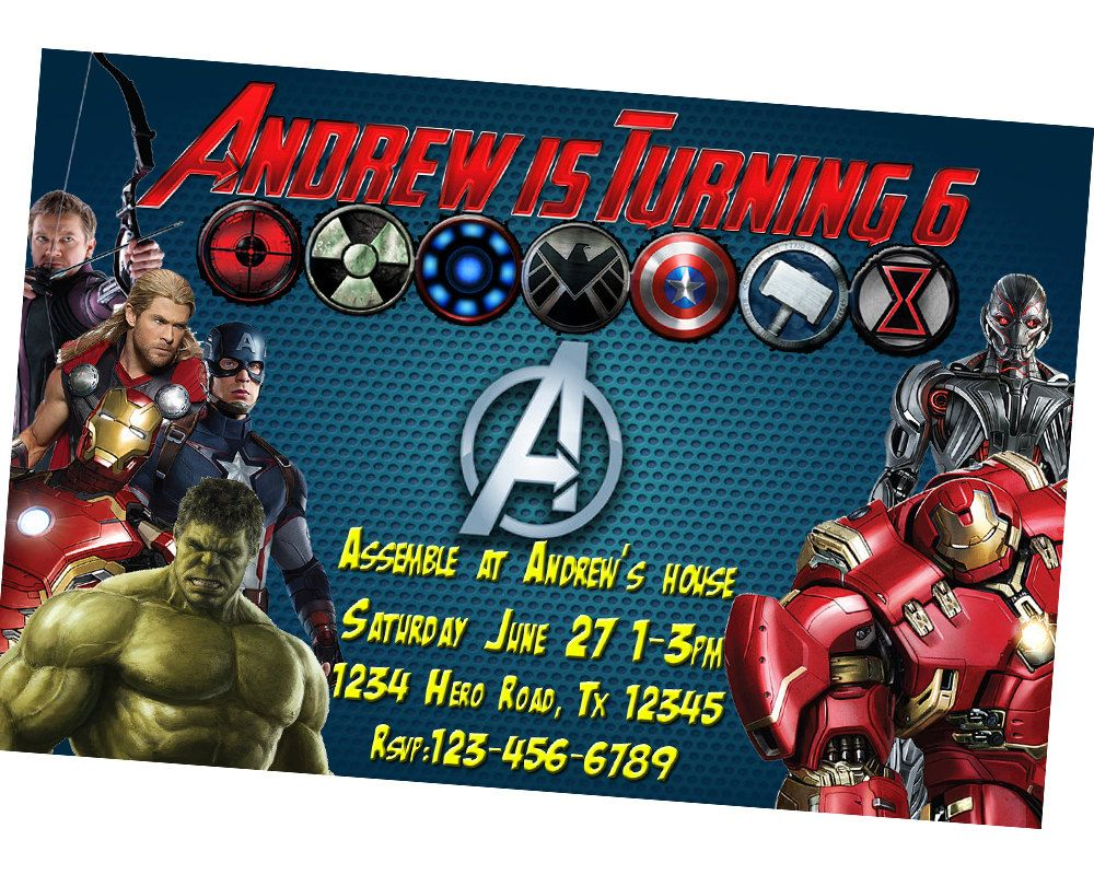 Avengers Invitation Personalized Captain America Birthday Invitation Iron Man Invitation Avengers Party Invitation Avengers Birthday Avenger Birthday Party