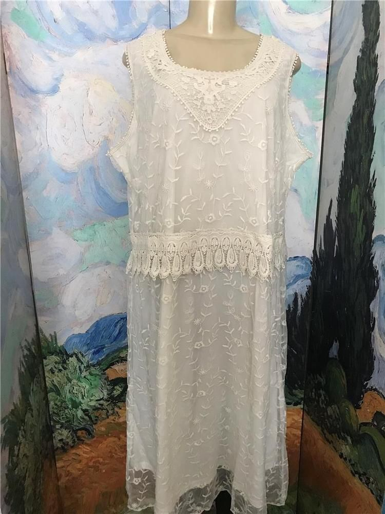 Woman Within Plus 1x New Ivory Mesh Floral Overlay Crochet