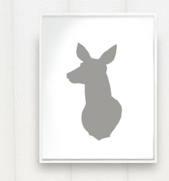 Doe a Deer Head Print Silhouette Color on White by prettymod Craft