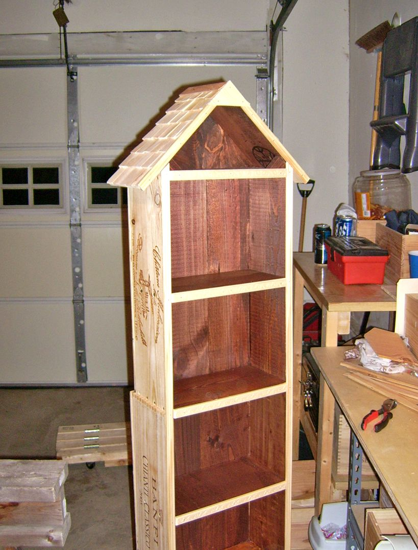 Wine Box Bookshelf With Attic