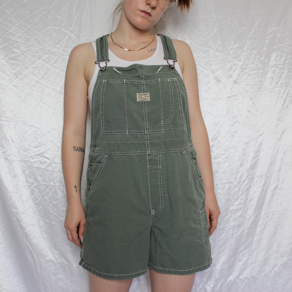 Olive Green Overall Shorts Retro Old Navy Brand Depop Overall Shorts Overalls Shorts [ 999 x 1000 Pixel ]
