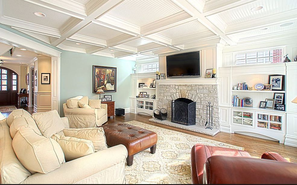 Coffered ceiling and TV over fireplace | Built in around ...