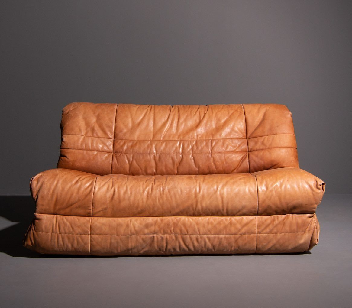 This Vintage Cognac Leather 2 Seater Sofa Can Also Be Used As A Sofa Bed Link In Bio 1 Piece In Stock 1250 Sofabed 70sdesign