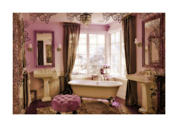 Pink Cream And Brown Bathroom With