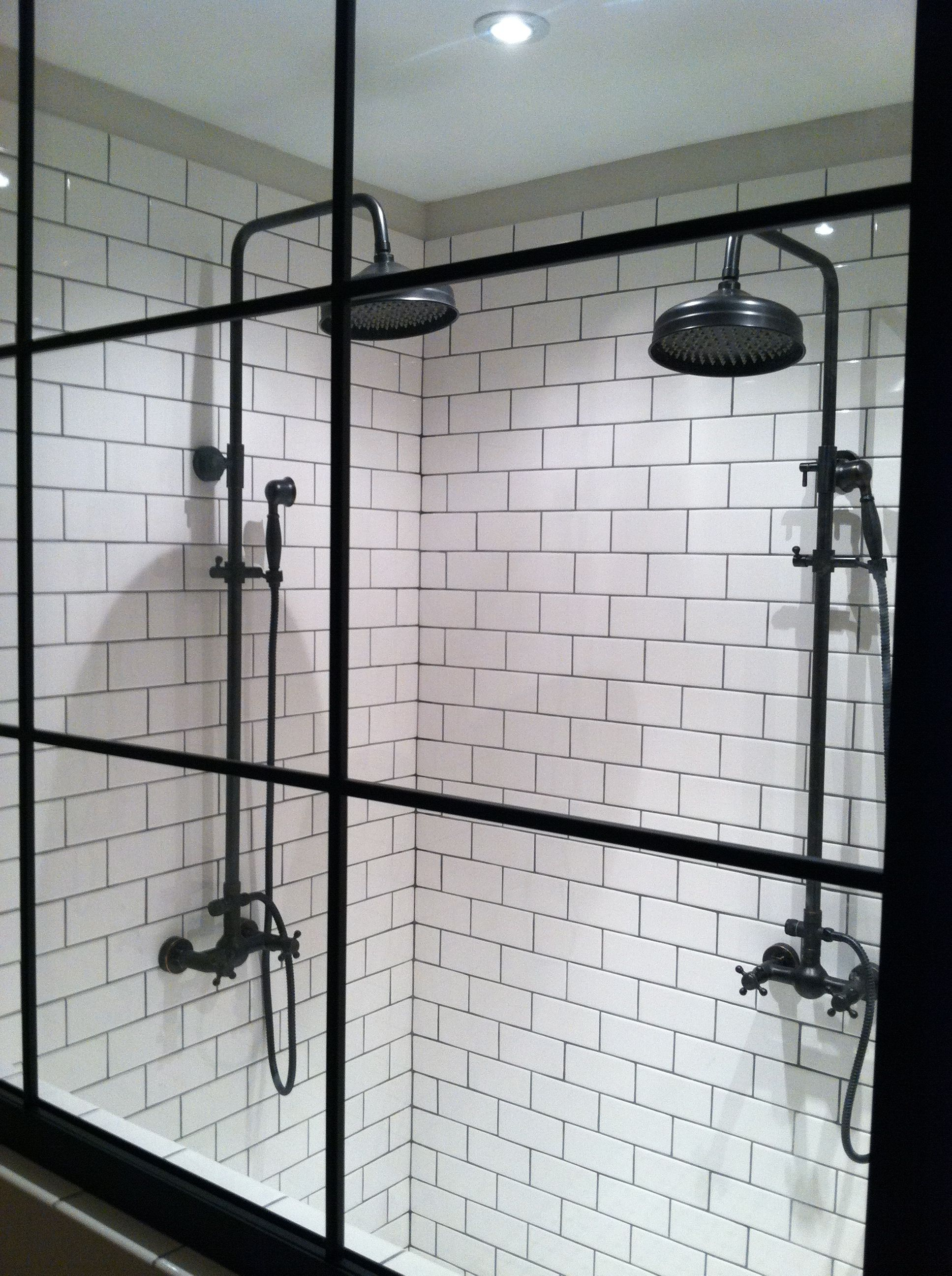 Nice Custom Shower.... Warehouse Window Style Glass, Subway Tile, And Exposed  Pipe Fixtures