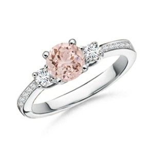 Angara Emerald-Cut Morganite and Diamond Three Stone Ring ZlJynbkP06