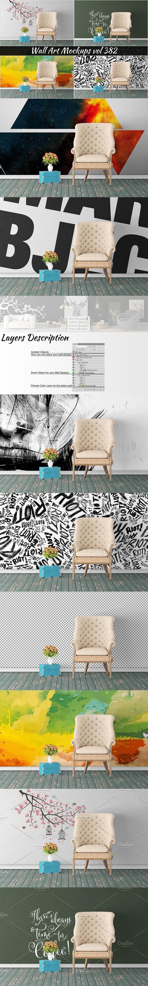 Wall Mockup - Sticker Mockup Vol 382. Poster Designs
