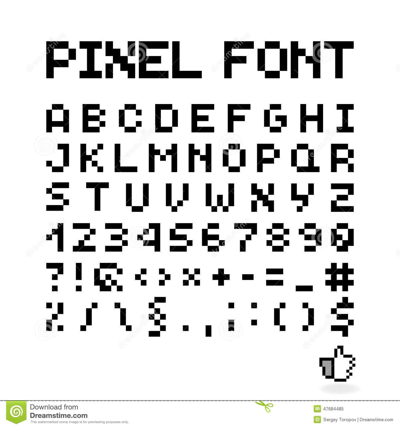 Pixel Font Isolated Vector Letters Alphabet