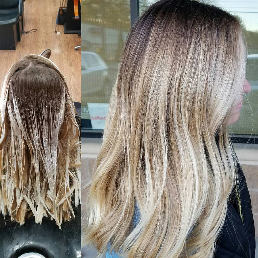 That Blend Though Application And After Using Oligopro Blacklight Balayage Clay Lightener And Extra Blonde Ligh Hair Beauty Long Blonde Hair Blonde Balayage