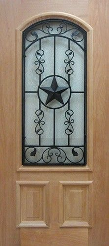 Arch Texas Star Grille Mahogany Wood Slab   Front Entry Door From Door  Clearance Center