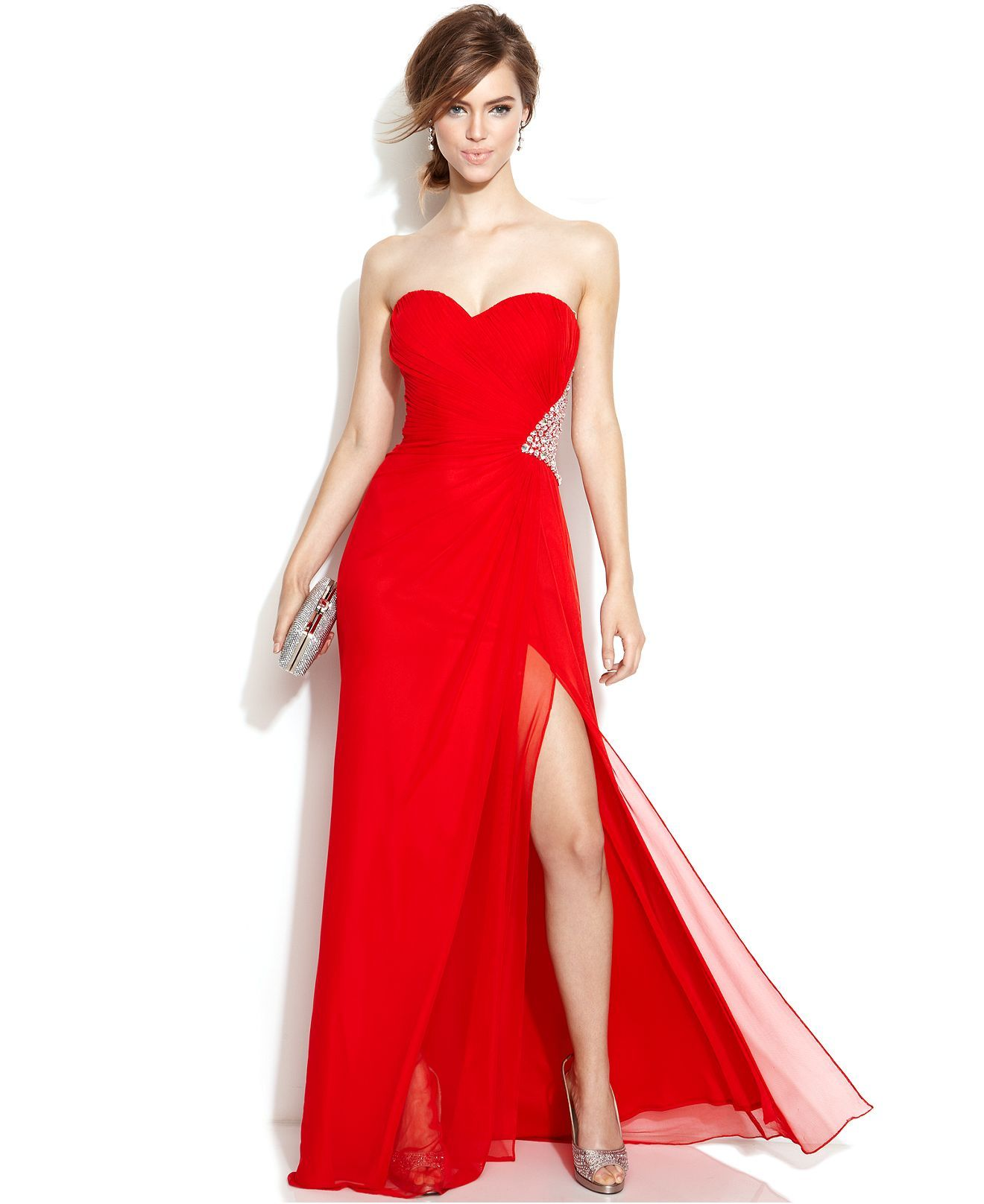 Xscape Strapless Embellished Cutout Gown - Juniors Dresses ...