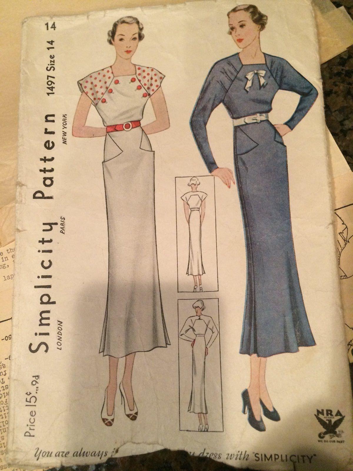 1930s Simplicity Dress Pattern 1497 | Vintage Fashion 1930\'s | Pinterest
