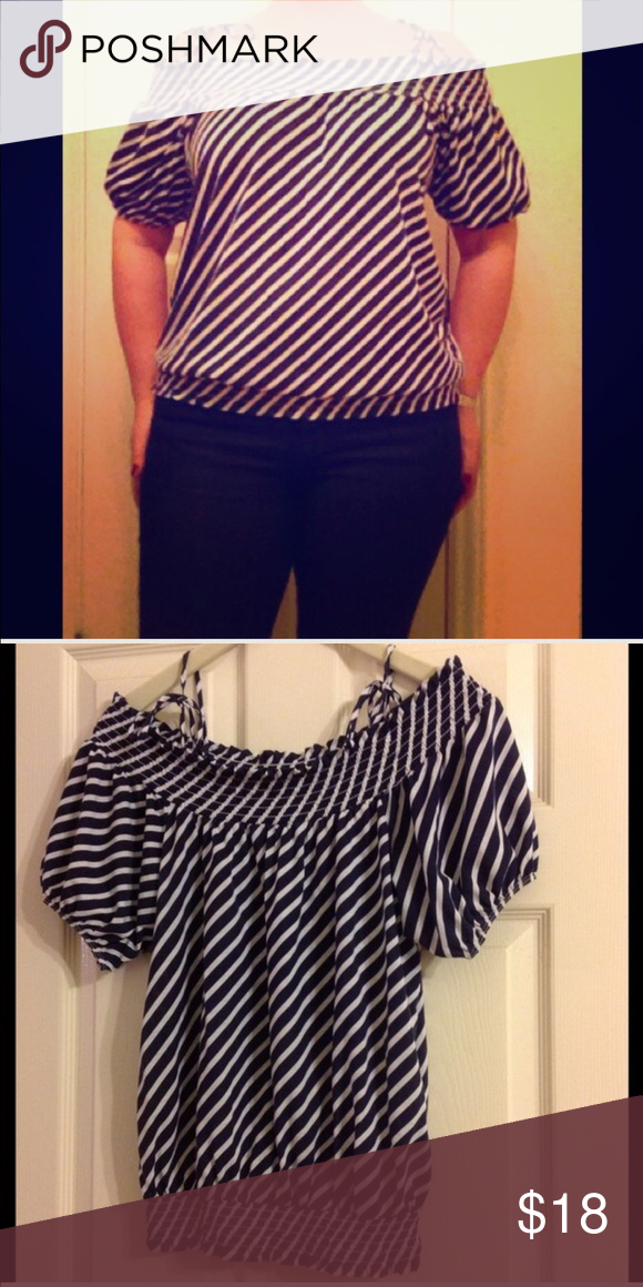 0937a9b24e1 Nautical Off the Shoulder Top Navy blue and white nautical striped cotton  blouse. Bare some shoulder in this blouse with simple shoulder tie detail.