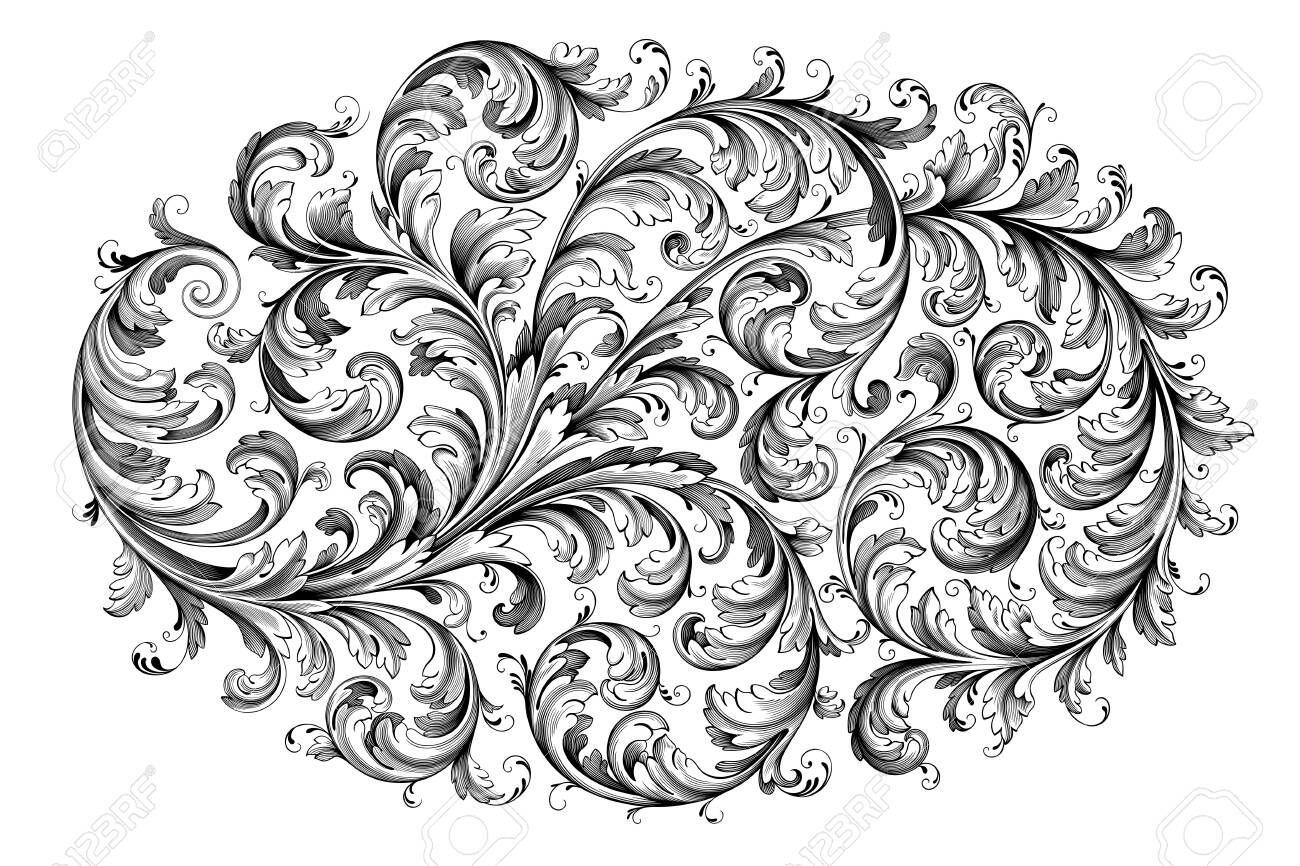 vintage baroque victorian frame border floral ornament leaf scroll engraved retro flower pattern decorative des in 2020 victorian frame pattern tattoo scroll engraving pinterest