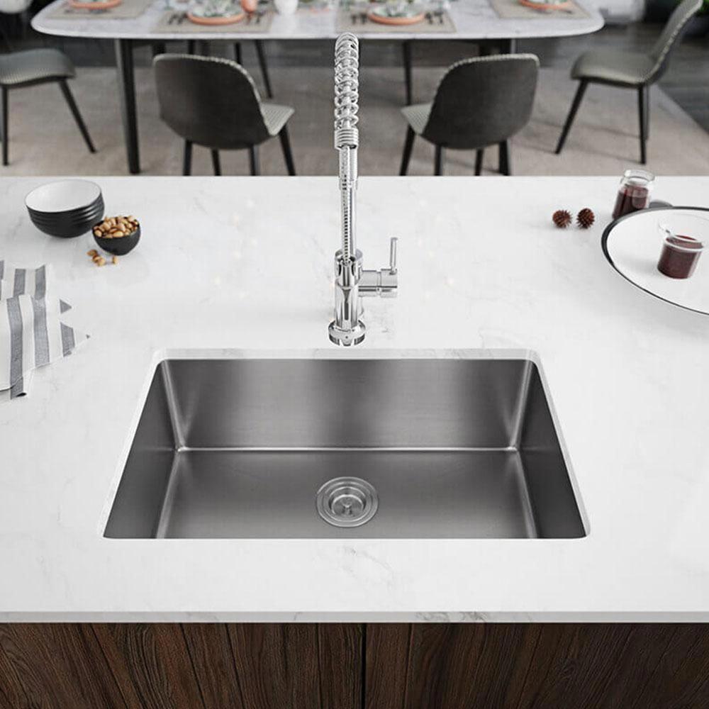 Rene Undermount Stainless Steel 28 1 8 In Single Basin Kitchen Sink Brushed Satin In 2020 Single Basin Kitchen Sink Undermount Kitchen Sinks Single Bowl Kitchen Sink