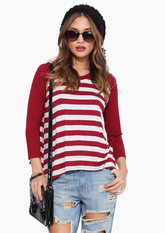 I Used To Stripe Quarter Length Sleeve Top in Burgundy